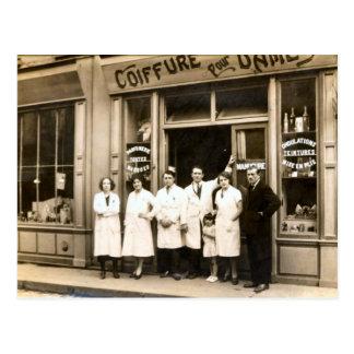 Hairdressing shop, 1930 postcard