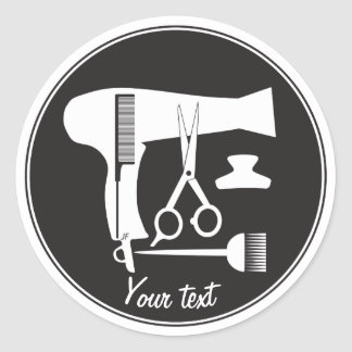 Hairstyles tools classic round sticker