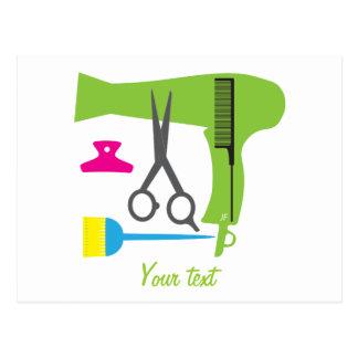 Hairstyles tools postcard
