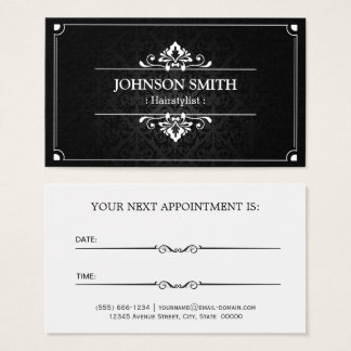 Hairstylist Appointment Card - Shadow of Damask