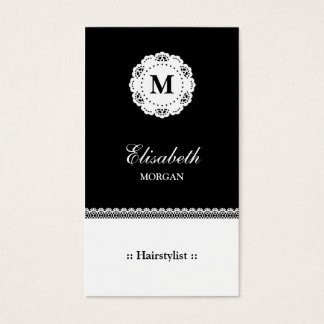 Hairstylist Black White Lace Monogram Business Card
