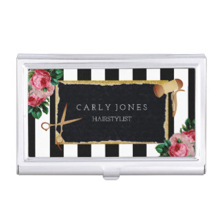 Hairstylist Floral Stripes Business Card Holder