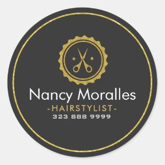 HairStylist Logo-Gold Scissors & Circle Round Sticker