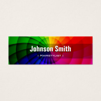 Hairstylist - Radial Rainbow Colors Mini Business Card