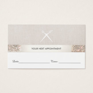 Hairstylist Scissors Sequin Salon Appointment Card