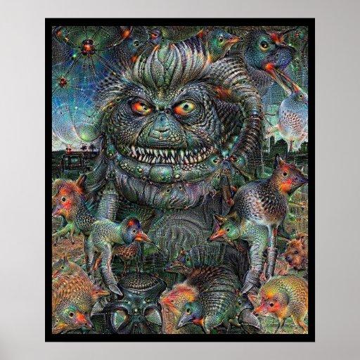 Hairy Alien Deep Dream Poster