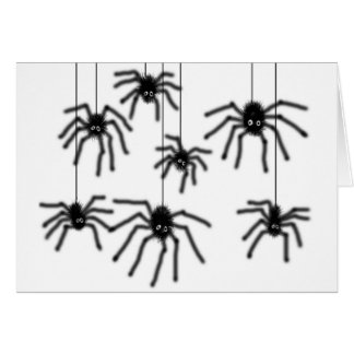 Hairy Cartoon Spiders Greeting Card