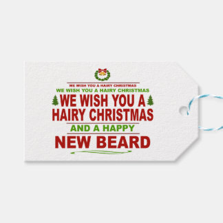 Hairy Christmas, Happy New Beard V2 Pack Of Gift Tags