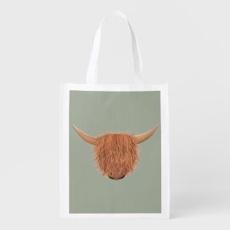 Hairy Highland Cow Reusable Bag Grocery Bags