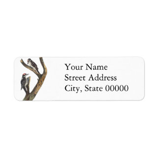 Hairy Woodpecker, John Audubon Return Address Label