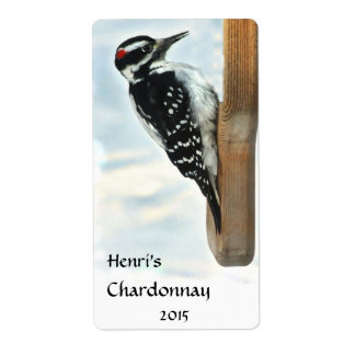 Hairy Woodpecker White Wine Shipping Label
