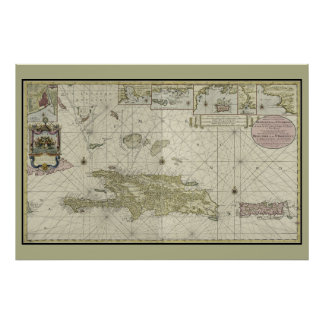 Haiti and Dominican Republic 1720 Dutch Chart Map Poster