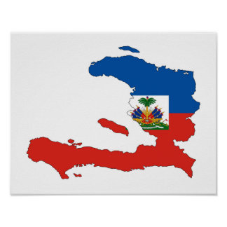 haiti country flag map shape symbol poster