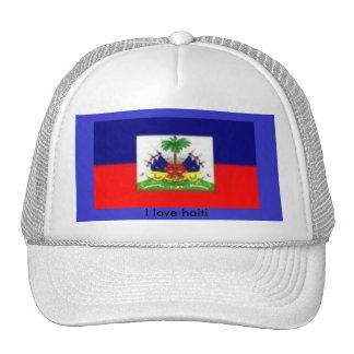 haiti flag 1, I love haiti Trucker Hat