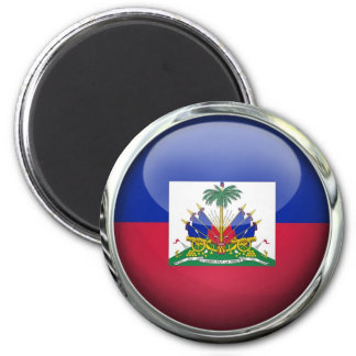 Haiti Flag Glass Ball Magnet
