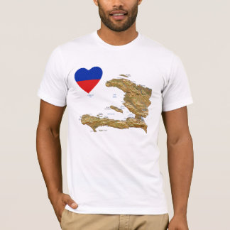 Haiti Flag Heart and Map T-Shirt