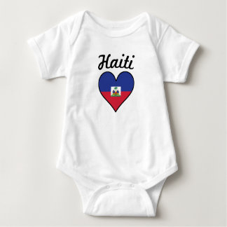 Haiti Flag Heart Baby Bodysuit
