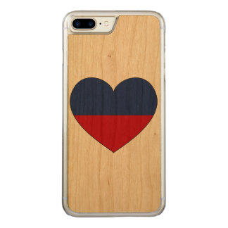 Haiti Flag Heart Carved iPhone 7 Plus Case