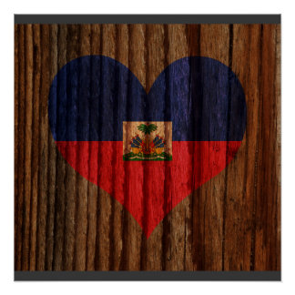 Haiti Flag Heart on Wood theme Perfect Poster