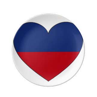 Haiti Flag Heart Plate