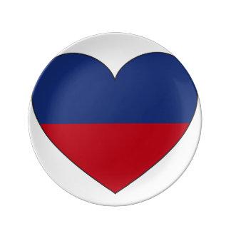Haiti Flag Heart Porcelain Plates