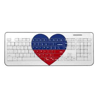 Haiti Flag Heart Wireless Keyboard