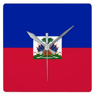 Haiti Flag Square Wall Clock