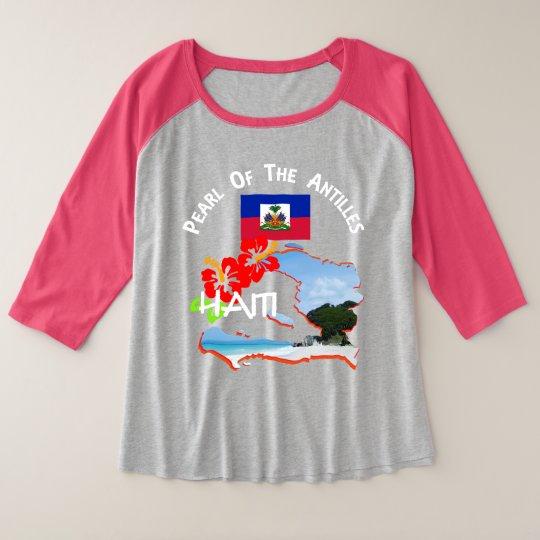 Haiti Hibiscus Flower & Map Sunny Vacation Graphic Plus Size Raglan T-Shirt