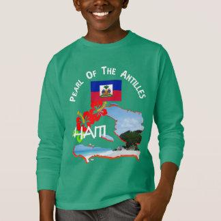 Haiti Hibiscus Flower & Map Sunny Vacation Graphic T-Shirt