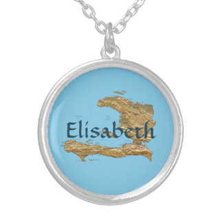 Haiti Map + Name Necklace