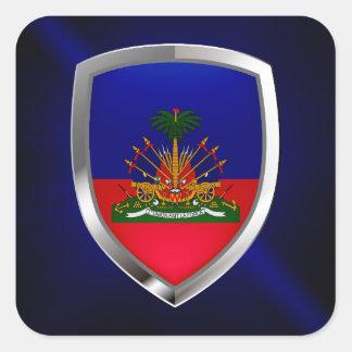 Haiti Metallic Emblem Square Sticker