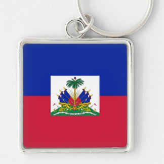 HAITI Silver-Colored SQUARE KEYCHAIN