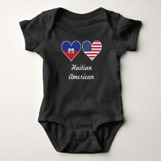 Haitian American Flag Hearts Baby Bodysuit