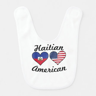 Haitian American Flag Hearts Bib