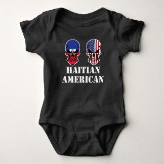 Haitian American Flag Skulls Baby Bodysuit