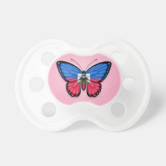 Haitian Butterfly Flag on Pink Pacifier