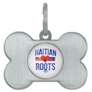 Haitian flag designs pet name tag