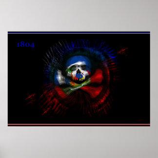 Haitian War Flag - DRAPO TOUSSAINT - Drapeau Noir Poster