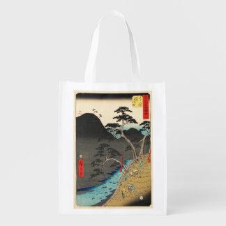 Hakone, Japan: Vintage Woodblock Print Reusable Grocery Bag
