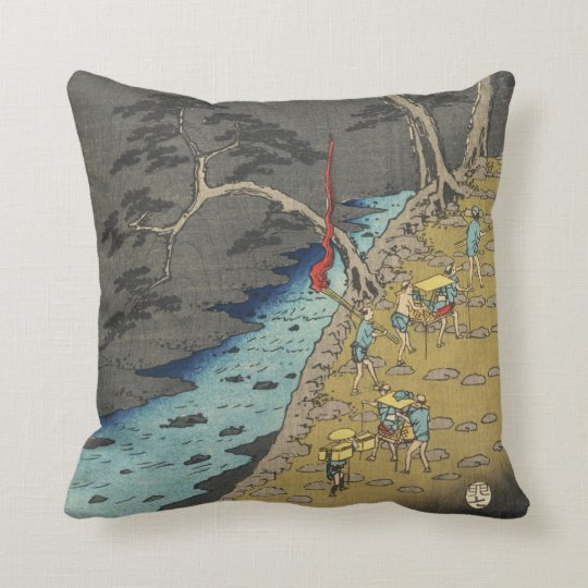 Hakone, Japan: Vintage Woodblock Print Throw Pillow