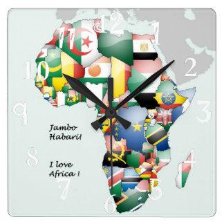 Hakuna Matata Jambo Habari Africa ! I Love Africa Square Wall Clock