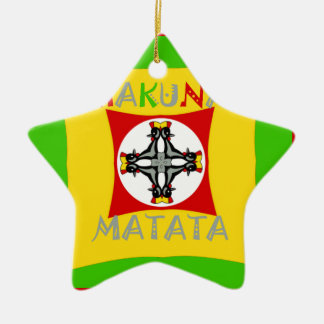 Hakuna Matata Rasta Color Red Golden Green Ceramic Ornament