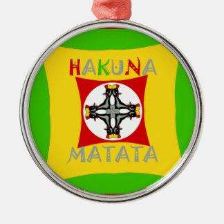 Hakuna Matata Rasta Color Red Golden Green Metal Ornament