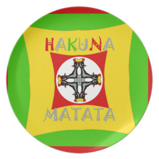Hakuna Matata Rasta Color Red Golden Green Plate