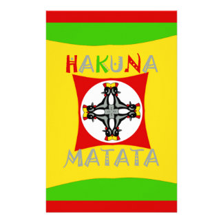 Hakuna Matata Rasta Color Red Golden Green Stationery