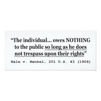"""HALE V HENKEL 201 US 43 1906 Case Law 4"""" X 9.25"""" Invitation Card"""