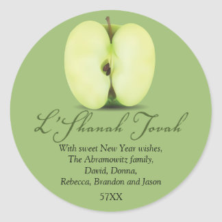 Half a Green Apple Rosh Hashanah Classic Round Sticker