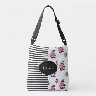 Half and Half Stripe and Rose Floral Crossbody Bag