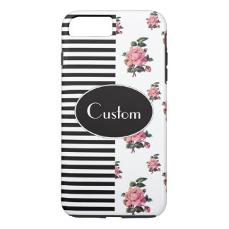 Half and Half Stripe and Rose Floral Custom Text iPhone 8 Plus/7 Plus Case