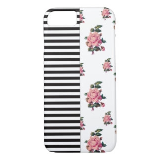 Half and Half Stripe and Rose Floral iPhone 8/7 Case